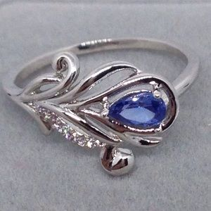 Silver Feather And Blue Sapphire Ring